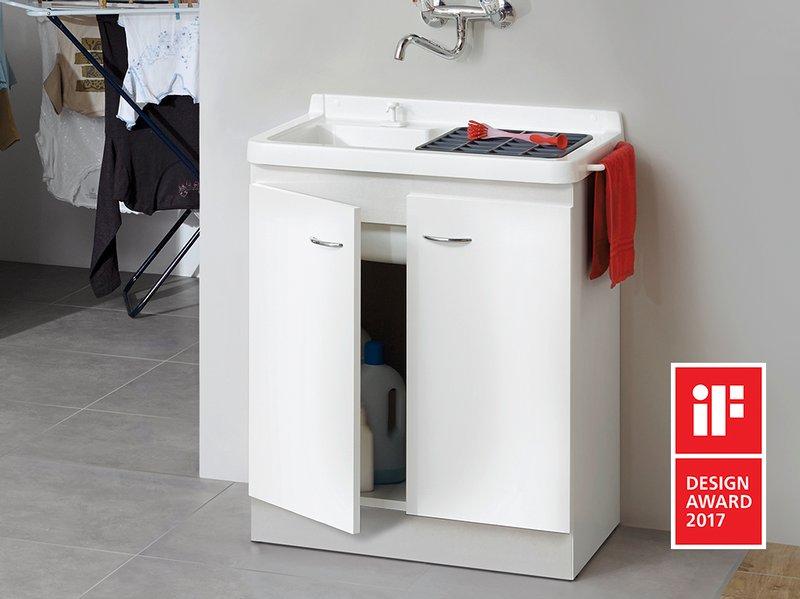 Bac a laver avec meuble maison design for Meuble buanderie avec bac a laver